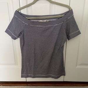 White and navy striped off shoulder t-shirt